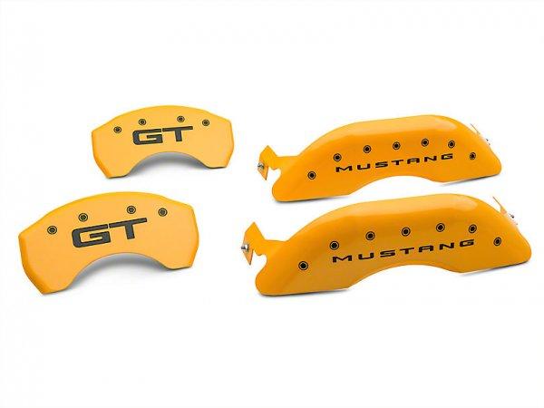 MGP gelbe Bremssattelabdeckungen mit GT Logo - vorne und hinten (15-21 Standard GT) 10200S2MGYL