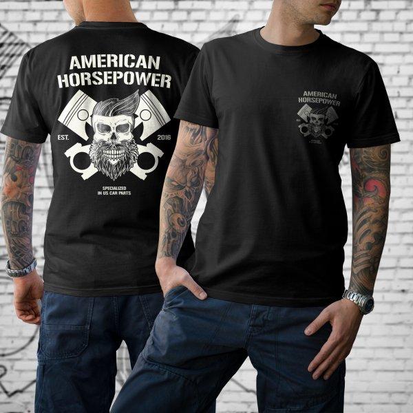 T-Shirt American Horsepower Skull Cylinder BIG