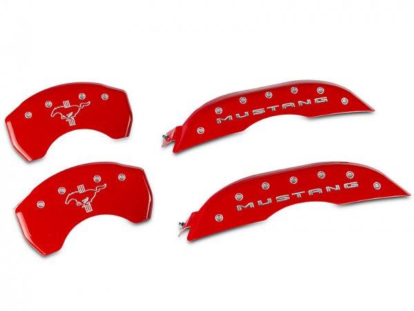 MGP Red Bremssattelabdeckungen mit Tri-Bar Pony Logo - vorne und hinten (15-21 Standard GT) 10200SMB2RD