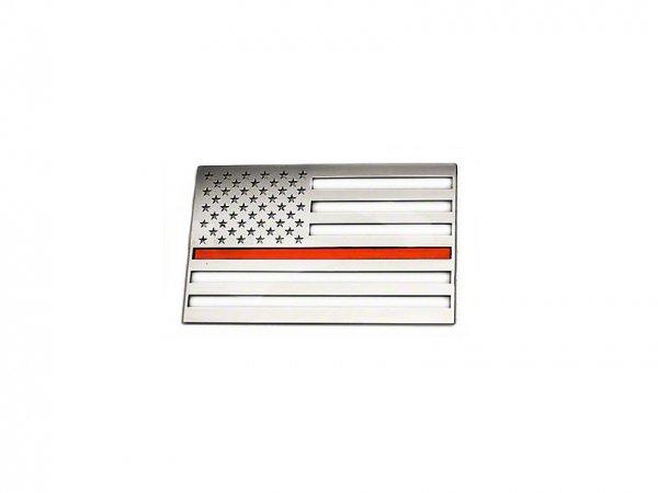 ACC Edelstahl American Flag Emblem - gebürstet mit dünner roter Linie (79-20 All) 142023