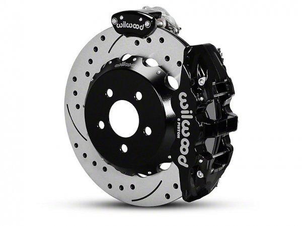 Wilwood AERO4 MC4 Hinterradbremsen-Kit mit gebohrten & geschlitzten Rotoren - Schwarz (15-21 All) 140-13888-D