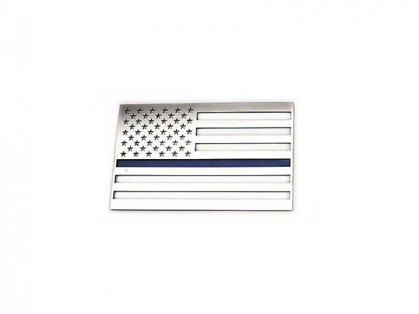 ACC Edelstahl American Flag Emblem - gebürstet mit dünner blaue Linie (79-21 All) 142022