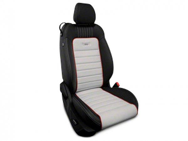 Roadwire Designer Series Leder schwarz Sitzbezüge - Sterling Streifen mit Red Piping (15-21 All) 393899-A