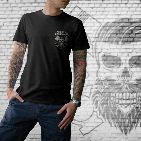 T-Shirt American Horsepower Skull Cylinder