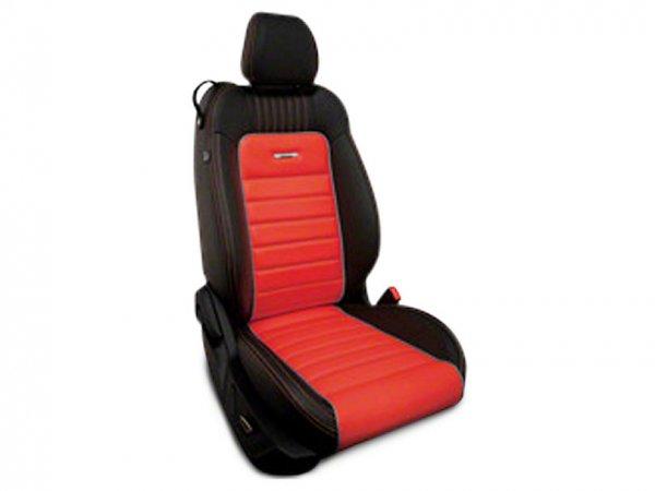 Roadwire Designer Series Leder schwarz Sitzbezüge - Red Stripe mit Sterling Piping (15-21 All) 393898-A